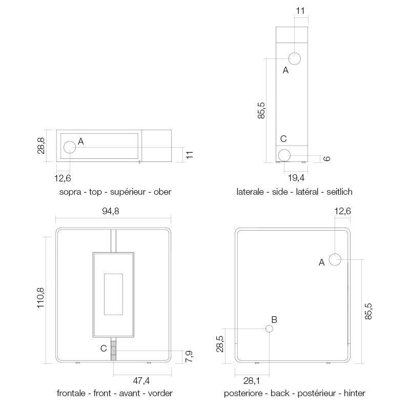 Wymiary piecyka Tile3 Air Plus
